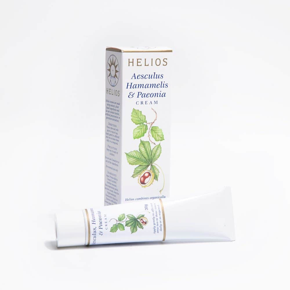 Helios Aesculus Hamamelis Paeonia Cream: treatment for hemorrhoids (piles), varicose veins and thread veins.
